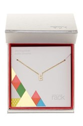 Nordstrom Rack Gold Plated Sterling Silver Pave Cz 'E' Initial Pendant Necklace Metallic