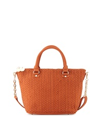 Neiman Marcus Suede Chevron Woven Satchel Bag Rust