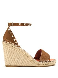Valentino Rockstud Leather Espadrille Wedge Sandals Tan