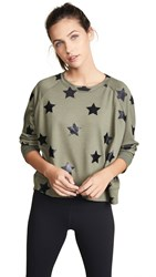 Terez Foil Printed Sweatshirt Black Star Foil Army Green