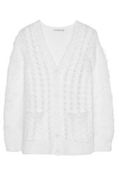 Michael Kors Collection Cable Knit Mohair Blend Cardigan White