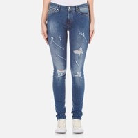 Love Moschino Women's 5 Pocket Skinny Fit Jeans Denim Blue