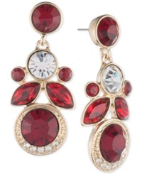 Givenchy Gold Tone Red Crystal Cluster Drop Earrings