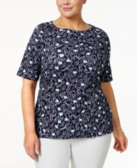 Charter Club Plus Size Cotton Floral Print Top Only At Macy's Intrepid Blue Combo