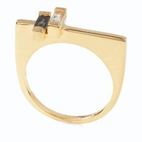 Neola Anais Gold Stacking Ring With Blue And London Topaz