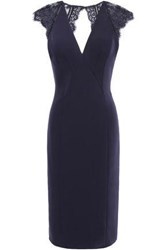 Catherine Deane Woman Open Back Cady And Lace Dress Navy