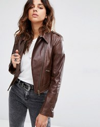 Asos Leather Biker Jacket In Cropped Length With Stitch Detail Brown Stone
