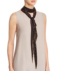 Eileen Fisher Beaded Skinny Silk Scarf Black