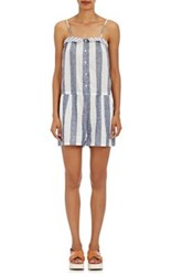 Skin Women's Striped Linen Cotton Romper White
