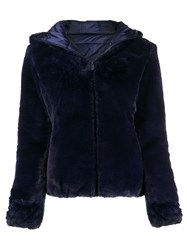 Save The Duck Faux Fur Hooded Jacket Blue