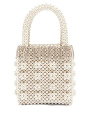 Shrimps Huckleberry Faux Pearl And Crystal Embellished Bag Cream