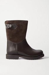 Ludwig Reiter Sennerin Shearling Lined Leather And Suede Ankle Boots Brown
