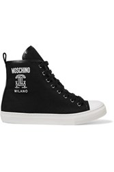 Moschino Leather Trimmed Canvas High Top Sneakers Black