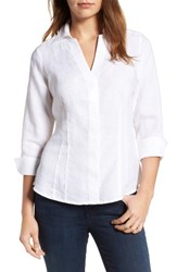 Foxcroft Women's Bobeau Linen Chambray Shirt White
