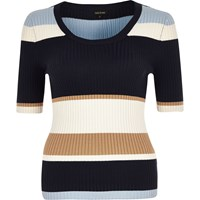 River Island Womens Navy Stripe Knit Ribbed Scoop Neck Top