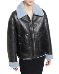 Mcq By Alexander Mcqueen Reversible Leather Shearling Aviator Jacket Black