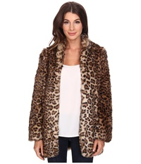 Nydj West End Cheetah Coat Vicuna Women's Coat Brown