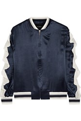 Ruffled Silk Satin Bomber Jacket Navy