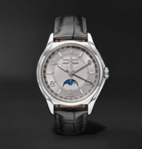 Vacheron Constantin Fiftysix Automatic Complete Calendar 40Mm Stainless Steel And Alligator Watch Silver