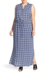 Caslon Plus Size Women's Sleeveless Woven Maxi Dress Navy Ikat Print