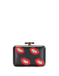 La Regale Beaded Lips Faux Leather Minaudiere Black