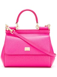 Dolce And Gabbana Small Sicily Tote Pink Purple