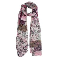 Dents Patchwork Geometric Floral Print Scarf Rose