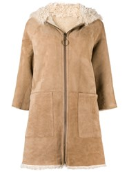 Mih Jeans Osten Reversible Shearling Coat Nude And Neutrals