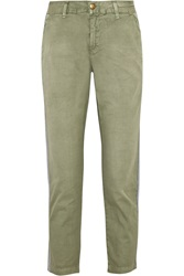 Current Elliott The Cropped Buddy Cotton Twill Straight Leg Pants