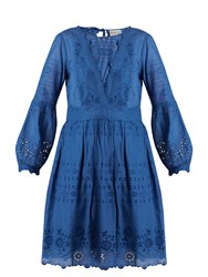 Sea Gibson Broderie Anglaise Cotton Dress Blue