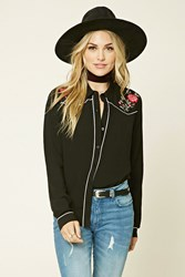 Forever 21 Floral Embroidered Collar Shirt