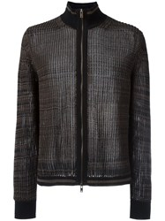 Maison Martin Margiela Sheer Knitted Zipped Cardigan Black