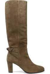 Alexandre Birman Rachel Bow Embellished Suede Knee Boots Army Green