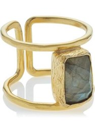 Ottoman Hands Labradorite Rectangle Shape Ring Gold Plated