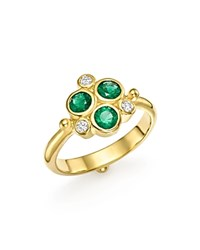 Temple St. Clair 18K Yellow Gold Emerald Trio And Diamond Ring Green Gold