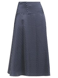 Erdem Elvin Polka Dot Crepe Midi Skirt Navy White