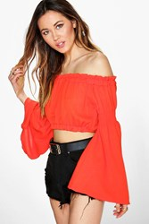 Boohoo Kimono Sleeve Off The Shoulder Crop Top Orange