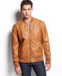 Levi's Faux Leather Varsity Bomber Jacket Cognac