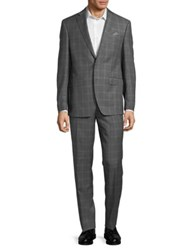 Tallia Orange Windowpane Wool Suit Grey