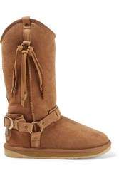 Australia Luxe Collective Harness Embellished Shearling Boots Tan
