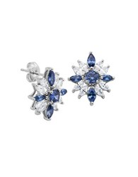Lord And Taylor Cubic Zirconia Sterling Silver Stud Earrings Blue