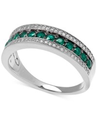 Macy's Emerald 1 2 Ct. T.W. And White Diamond 1 8 Ct. T.W. Band In Sterling Silver