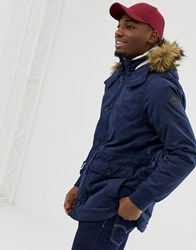 Hollister Lined Twill Hooded Parka With Faux Fur Trim In Navy Navy White Lining