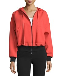 Red Valentino Hooded Zip Front Wool Jacket Arancio Women's