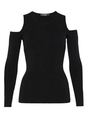 Hallhuber Cold Shoulder Fine Knit Jumper Black