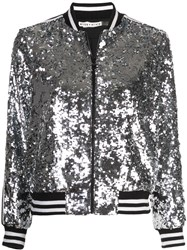 Alice Olivia Lonnie Sequin Bomber Jacket Silver