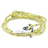 Anchor And Crew Bruce Rope And Silver Bracelet Yellow Noir