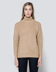 Callahan Heathered Mock Turtleneck Camel