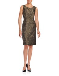 Nipon Boutique Textured Floral Metallic Sheath Dress Black Gold