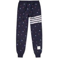 Thom Browne Skier Embroidery Quilted Sweatpant Blue